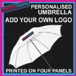 "PERSONALISED UMBRELLA ADD TEXT LOGO OWN DESIGN WHITE 30"" LONG HANDLE"